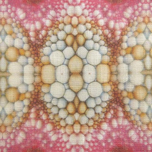 Linen fabric with pink flower stem pattern