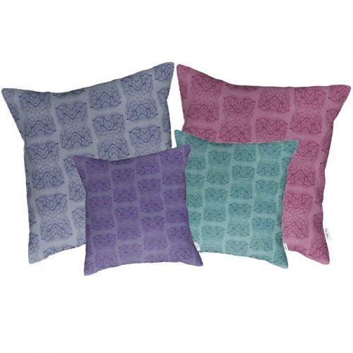 Linen cushion cover leaf vein patterns