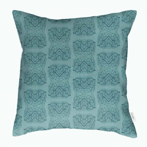Linen cushion cover leaf vein pattern