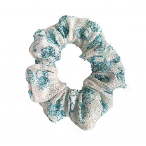 Linen scrunchy isolated cells teal