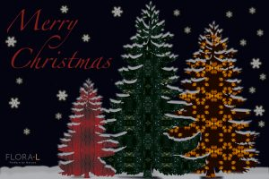 Christmas e-card with spruce patterns