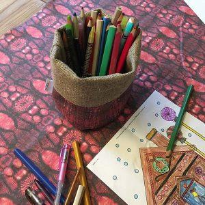 Linen storage baskets — Flax root cells