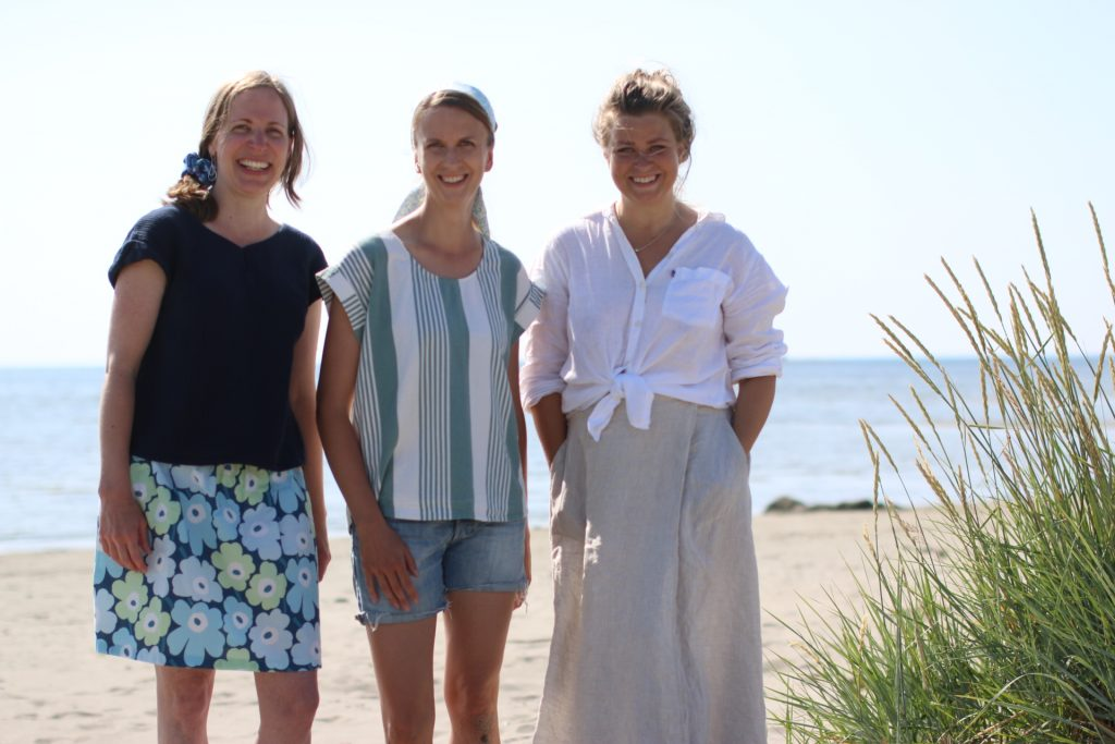 "The three creators of fabrics and pattern Judith from Flora-L Design, Malena from PatternbyMalena and Malena ""Malenami"""