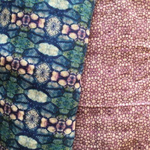Linen faLinen fabric linnea stem pith purple and poppy capsulebric poppy capsule blue in combination with linnea purple