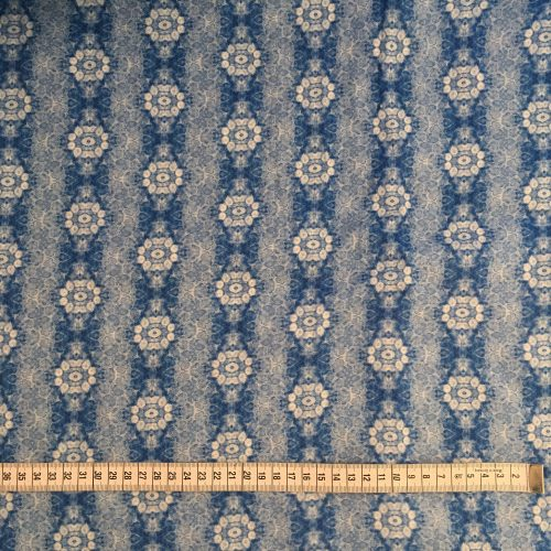 Linen fabric pine needle blue