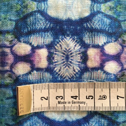Linen fabric poppy capsule blue closeup