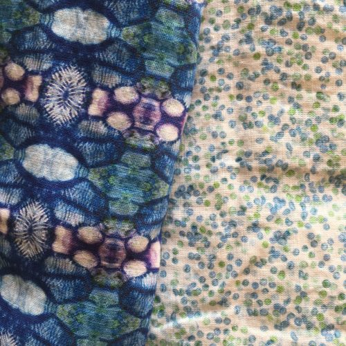 Linen fabrics poppy capsule blue and cypress spores greenblue