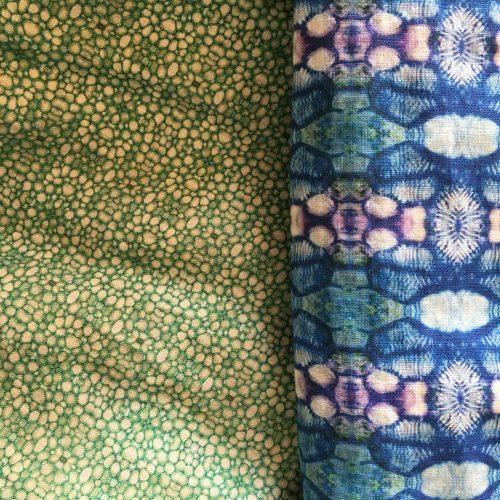 Linen fabric linnea stem pith green and poppy capsule